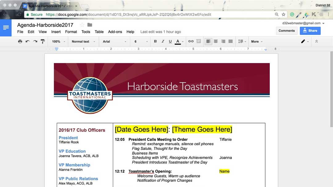 Using Google Docs For Club Agenda Toastmasters District 32
