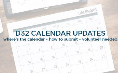 Events Calendar update + Volunteer Needed!