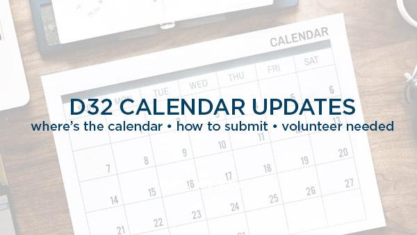 Events Calendar update + Volunteer Needed!